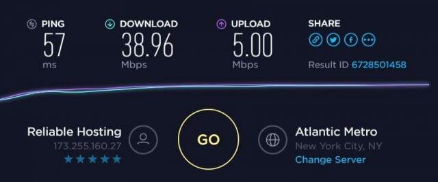 StrongVPN speed test